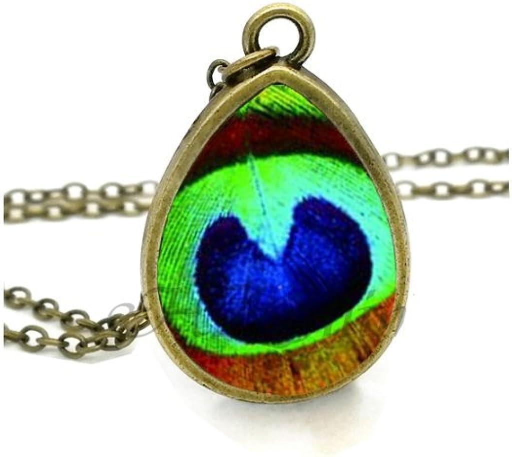 VDFR521 Peacock Feather Necklace Feathers Jewelry Tear Drop Pendant Art Nouveau Chain Glass Photo Necklaces