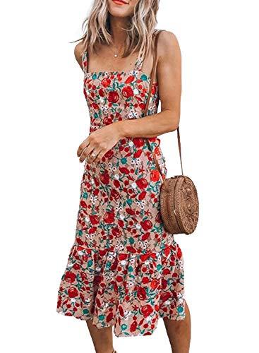 Losrly Damen-Maxikleid mit Blumenmuster und Rosenmuster, ärmellos, figurbetont, Sommerkleid, Strandkleid Gr. Small, rot
