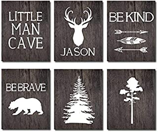 Little Man Cave Personalized Boys Room Decor CANVAS Wall Art Set of 6