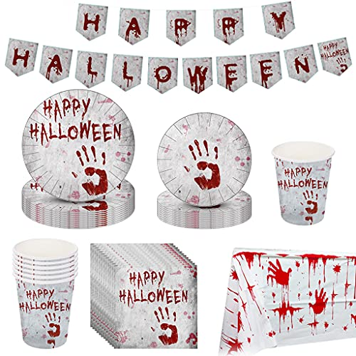 Hongfago 98 Pcs Halloween Party Tableware Set – Serves 24 Guests Halloween Dinnerware Including Paper Plates Cups Napkins and Tablecloth for Halloween Party Supplies