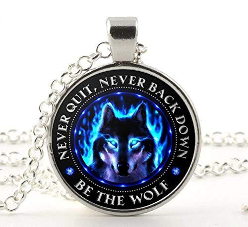 Wolf Halskette Anhänger Wolf Geschenke für Wolfsliebhaber Wolf Geist Be The Wolf Augen Never Quit Never Back Down Native Wolf
