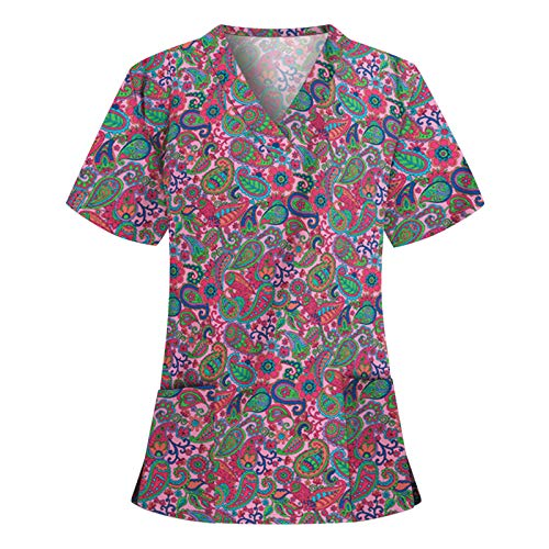 Yowablo Bluse Frauen Kurzarm V-Ausschnitt Tops Arbeitskleidung (XL,8rot)
