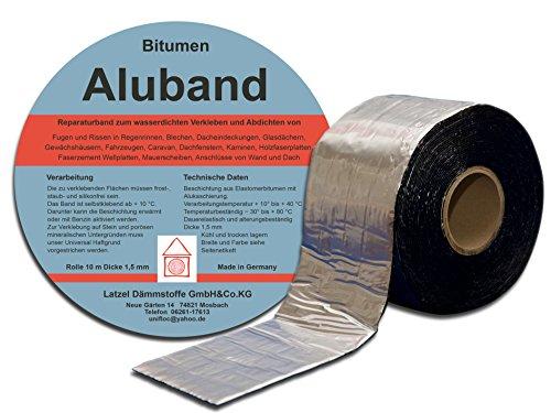 Bitumen Aluband Dichtband Reparaturband 50 mm Farbe Aluminium - Rolle 10 m. Hergestellt in Deutschland.