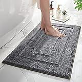 MontVoo Bathroom Mats - Luxury Soft Absorbent Plush Microfiber Gray Bathroom Rugs-Non Slip Washable...