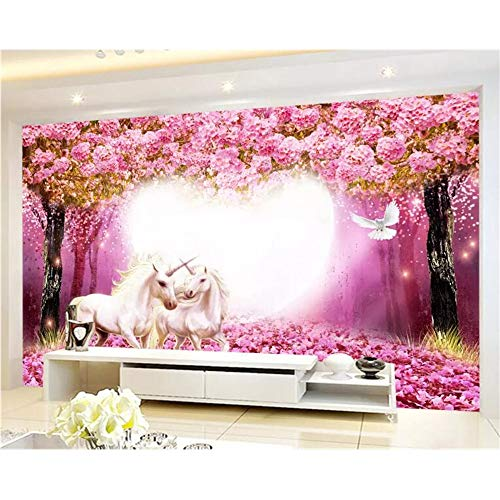 Shuangklei Maßgeschneiderte 3D Wallpaper Warm Taoyuan Woods White Horse 3D Tv Kinderzimmer Hintergrund Wandtapete 3D-200X140Cm