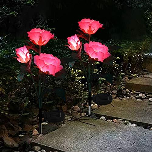 2 X Solarlampe für Garten Farbwechsel Rosenlichter LED Solarleuchten Garten Edelstahl Stecker Wasserdicht für Garten, Balkon und Terrasse Dekoration (Pink)