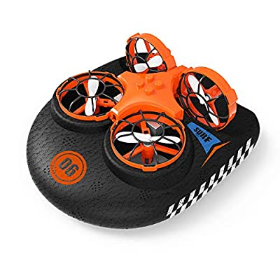 EACHINE E016F, Mini Drone for Kids,Remote Control Boats for Pools and Lakes,RC Car for Kids or Adults, 3-in-1 Sea-Land-Air Mode Switchable Waterproof Hovercraft Toy RC Quadcopter RTF
