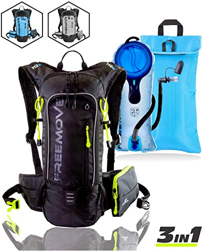 FREEMOVE Hydration Pack Backpack with 2 Liter Water Bladder and Cooler Bag, Lightweight, Fully Adjustable, Leakproof Multiple Pockets Camel Pack Gear for Hiking, Running, Cycling