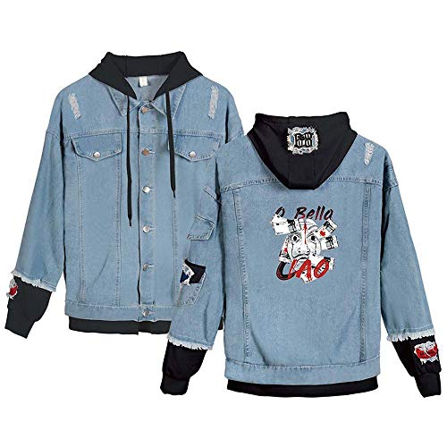 fghfgdhjf Bedruckte Street Trend Lässige Jeansjacke Around Money Heist C Blue Body and Black Cap L