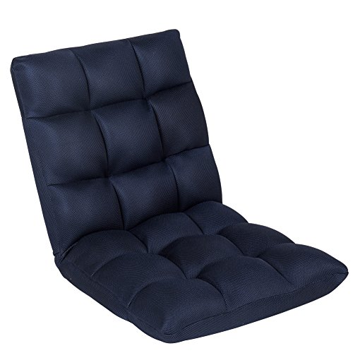 Sundale Foldable Gaming Chair Floor Chair for Adults, Adjustable 5-Position Chaise Lounge Indoor, Padded Floor Seating Meditation Chair with Back Support, Comfy Chair for Bedroom - Navy Blue