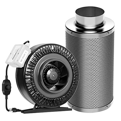 VIVOSUN 6 Inch 440 CFM Inline Duct Fan with 6' x 18' Carbon Filter Smelliness Control with...
