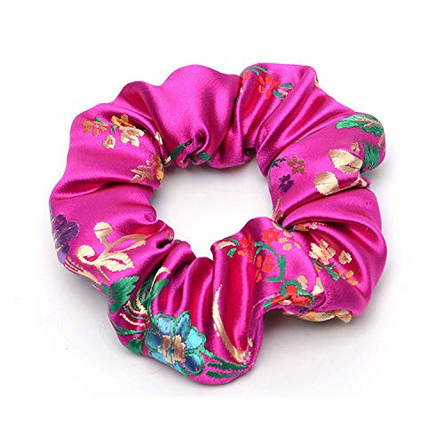 OULN1Y Bandeaux 2019 New Flower Embroidered Satin Silk Brocade Scrunchies Lady Hair Accessories Hair Ties for Women Fashion Accessories,PINK