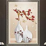 Cyalla Mural Personalizado Nórdico Jarrón En Relieve Minimalista Ciruelo Pasaje Decorativo Fresco No Tejido Impermeable 3D Papel Tapiz Foto Mural De La Pared-350X250CM