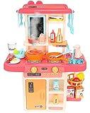 ISO TRADE Kinderküche Spielküche Zubehör Funktion Wasserhahn Kaltdampf 42 Elemente 9569, Farbe:Rosa