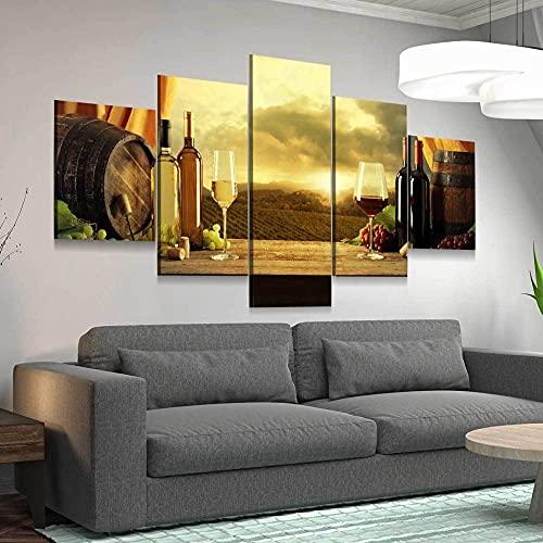 45Tdfc Cuadro Lienzo Moderno 5 Piezas Puesta de Sol de Vino Rojo o Blanco HD Imagen De Póster Impresión Artística,Combinación Pintura Decorativa para Salón De Hogar/Sin Marco