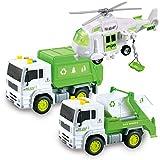JOYIN 3 in 1 Reibungsgetriebenes städtisches Abfallentsorgungsfahrzeug Abfallsammelwagen LKW Auto Spielzeugset mit Hubschrauber und Müllwagen mit Licht und Ton, Geschenk für Kinder Jungen