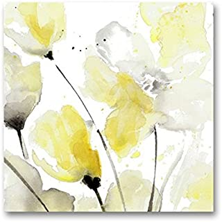 Genius Decor – Modern Yellow Grey and White Abstract Flower Art Canvas Wall Decor..
