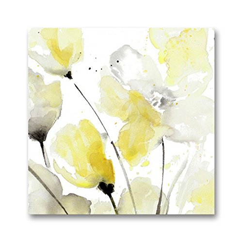 Genius Decor - Modern Yellow Grey and White Abstract Flower Art Canvas Wall Decor (Yellow Gray, 20x20inch)