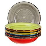 Set di 6 piatti Malaga - Piatto fondo colorato, piatto rotondo da insalata, scodella, piatto in terracotta, dipinti a mano 650 ml, diametro 21,5 cm