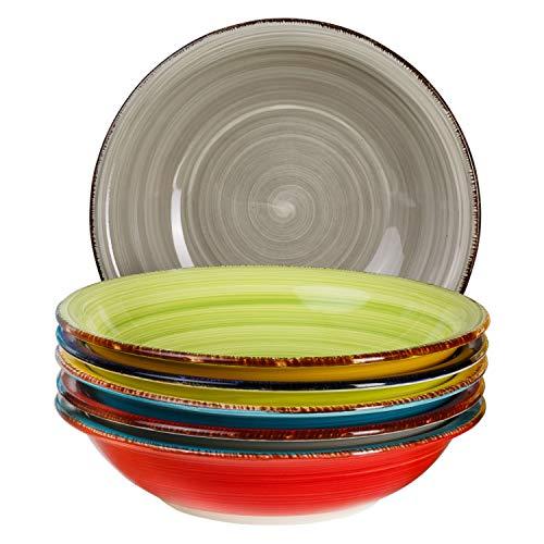 6-TLG. Tellerset Malaga | Bunte Suppenteller tief | 650 ml | Ø 21.5 cm | Salatteller rund | Servier-Schale | Steingut-Teller | handbemalt