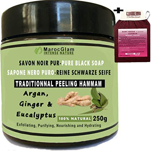 Savon Noir Gommage 250g Gingembre et Eucalyptus à Huile d'Argan 100% Naturel + Gant de gommage kessa de qualité - Hammam Marocain Exfoliant - Purifiant - MAROC GLAM