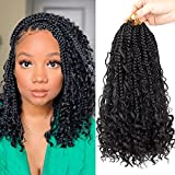7 Packs Boho Box Braids Crochet Hair 12 Inch Bohemian Crochet Box Braids Curly Ends Bob Box Braid Hair for Black Women (1B#, 12 Inch)
