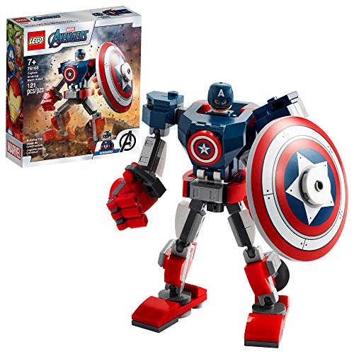 LEGO Marvel Avengers Classic Captain America Mech Armor 76168 Collectible Captain America Shield Building Toy, New 2021 (121 Pieces)