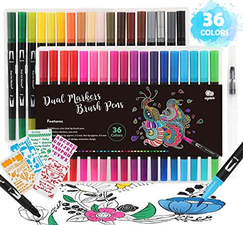 36 Rotuladores Doble Punta, Plumas de Colores con 5 Plantilla de Pintura y Pluma Estilográfica, para Colorear Caligrafía Dibujo Toma de Notas