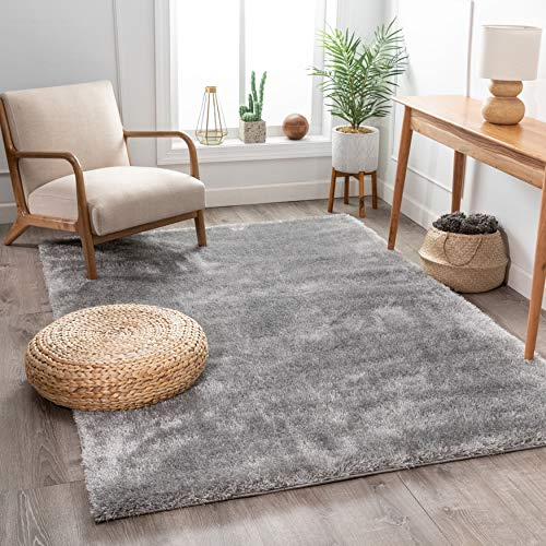 Shimmer Shag Silver Grey Solid Modern Luster Ultra Thick Soft Plush Plain Area Rug 8 x 10 (7'10' x 9'10') Contemporary Retro Polyester Textured Two Length 2' Pile Yarn Easy Clean Fade Resistant