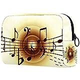 Vanity et Trousses à Maquillage Notes de Musique Vintage Portable Multifonction Sacs Cosmétique en, Doux au Toucher Trousse Maquillage pour Femmes Filles 18.5x7.5x13cm