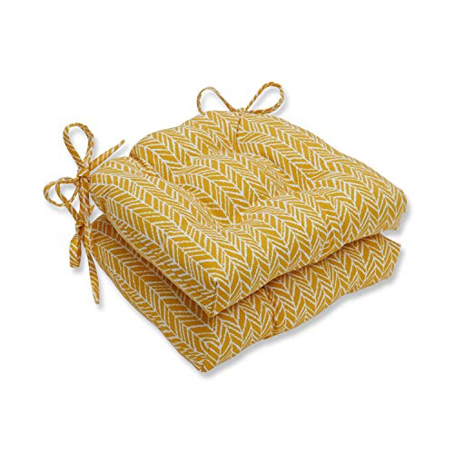 Pillow Perfect Outdoor/Indoor Herringbone Egg Yolk Reversible Chair Paids, 15.5' x 14.5', Yellow, 2 Pack