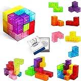 Buself Magnetische Bausteine Würfel Magnetische Steine für Kinder mit 54 Smarte Teile Puzzles 3D...