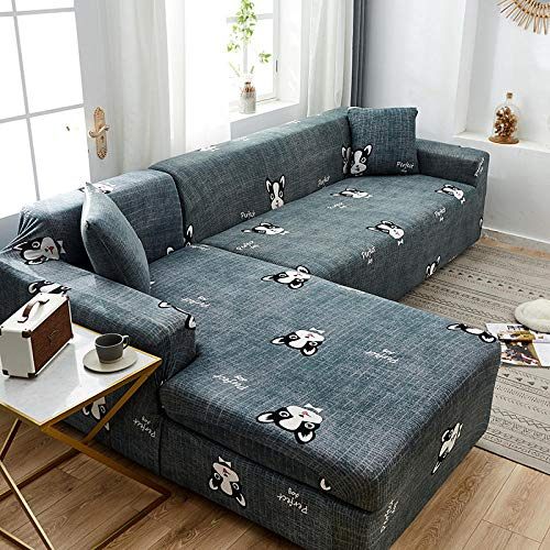 Fsogasilttlv Stretch Friheten Sofa-üBerwüRfe 4-Sitzer, quadratisch gitterbedruckte L-förmige Sofabezüge für das Wohnzimmer, Protector Anti-Dust Elastic Stretch Cover für die Ecke C
