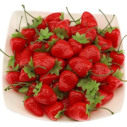 Gresorth 30 Stück Künstliche Lebensechte Dard Rot Erdbeere Deko Gefälschte Früchte Obst Party Festival Dekoration