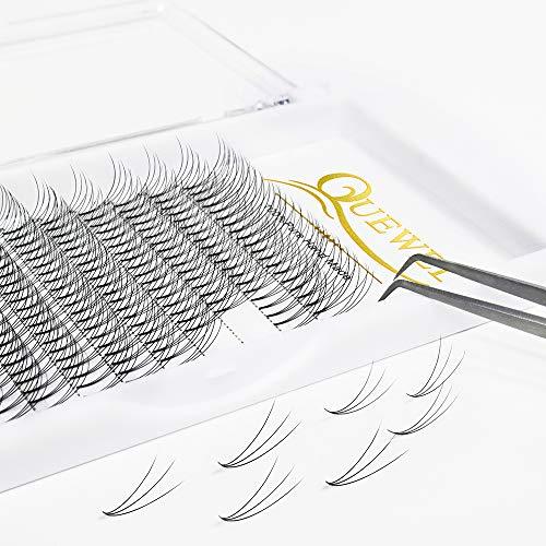 Quewel - Extensión de pestañas 3D de base corta para ventiladores de volumen ruso prefabricados