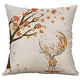 Gspirit 4 Stück Kissenbezug Herbst Ahornblatt Muster Dekorative Kissenhülle Baumwolle Leinen Werfen Sie Kissenbezüge 45x45 cm - 7
