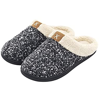 Women's Comfort Memory Foam Slippers Wool-Like Plush Fleece Lined House Shoes w/Indoor, Outdoor Anti-Skid Rubber Sole (Medium/7-8 B(M) US, Black)