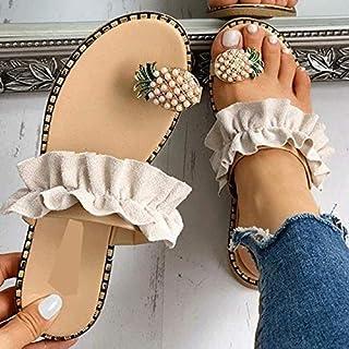 Women Summer Slippers Flip Flop Platform Flat Heel Peep Toe Pineapple Decoration Beach Ladies Shoes personality sandals (Color : Beige, Shoe Size : 5)