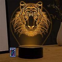 XKUN S3Dモデルledナイトライトクリエイティブ16色ランプタッチリモートテーブルランプキッドベビーベッドルームスリープイリュージョンデスクランプバースデーホリデーストアギフト玩具,ライオン