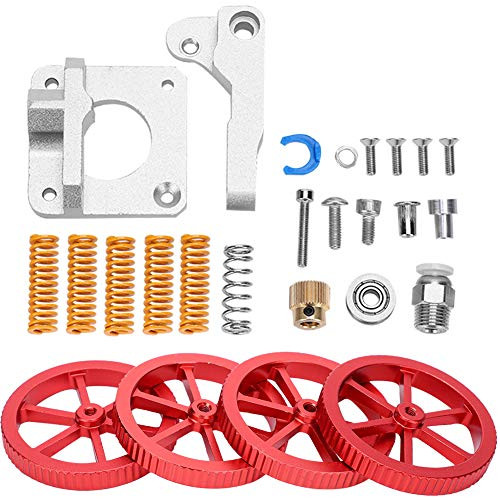 3D Printer Extruder Upgrade Kit, 3D Printer Accessories, Advanced Upgrade Kit Red Hand Twist Leveling Nut + Springs Dampers Set fo DIY Lovers for 3D Printer