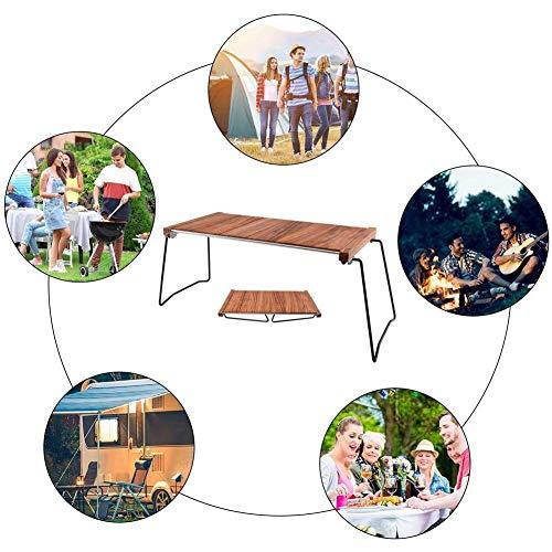 51AfzcS46GL - Klappbarer Camping-Tisch Tragbarer Picknicktisch Ebenholz Kombinierter Multifunktions-Klapptisch mit Aufbewahrungstasche für Catering Camping Trestle Picknickgarten Patio BBQ Party Lili