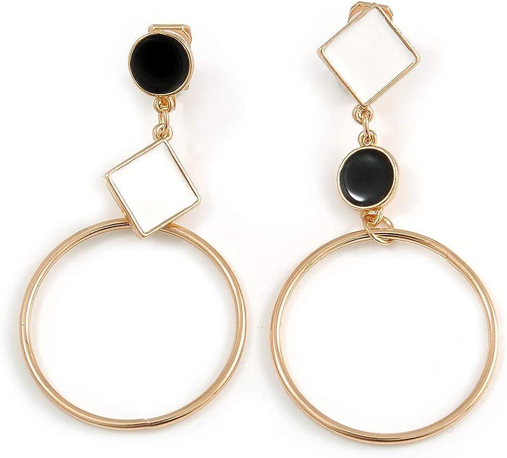 Black/White Enamel Assymetric Circle Clip-On Earrings In Gold Tone Metal - 60mm L