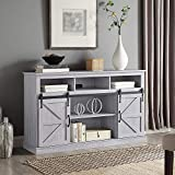 BELLEZE Parker 52' TV Stand Sliding Console for TV's Up to 60' Entertainment Center, Stone Grey
