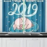 JOCHUAN Feliz Navidad 2019 Dibujado a Mano Letras Cortinas de Cocina Cortinas de Ventana Niveles para cafetería, baño, lavandería, Sala de Estar Dormitorio 26 x 39 Pulgadas 2 Piezas
