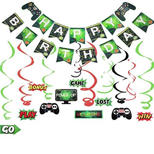 JeVenis 2er-Set Spiel AUF Banner-Videospiel-Party-Banner-Zubehör-Set Spiel-Party-Dekoration Baby Boys Geburtstags-Party-Banner und Luftballons für Spiel-Themen-Party