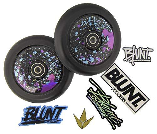 Blazer Pro Stunt-Scooter Hollow Core Rollen 110mm PU Schwarz + Blunt Wheel Sticker (Splatter)