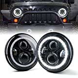 Xprite 7' Inch LED Halo Headlights for Jeep Wrangler JK TJ LJ 1997 -...
