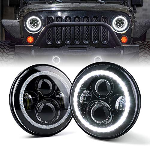 Xprite 7' Inch LED Halo Headlights for Jeep Wrangler JK TJ LJ 1997 - 2018(DOT Approved),CREE LED Chip, 90W 9600 Lumens Hi/Lo Beam with Halo Ring Angel Eyes DRL
