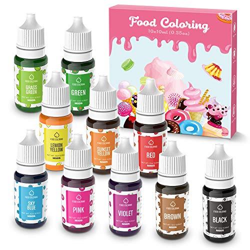 Colorante Alimentare liquido 10x10ML Coloranti alimentari Concentrati per Cuocere Decorare Glassare e Cucinare