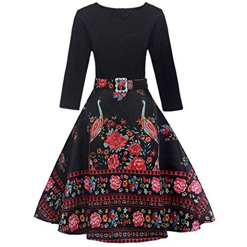Preisvergleich Produktbild Btruely Kleid Damen Elegant Vintage 50er Kleid Langarm Rockabilly Swing Kleider O-Ausschnitt Blumen Plaid Kleid Retro Hepburn Kleid Schwingen Kleid Abendkleid (M,  Wein)